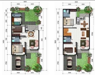 Contoh Gambar Denah Rumah Minimalis Type 36