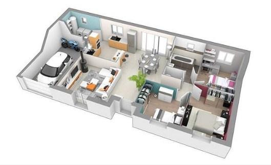 Denah Rumah Minimalis 1 Lantai 2 Kamar