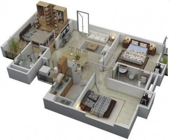 Denah Rumah Minimalis 1 Lantai 4 Kamar Tidur