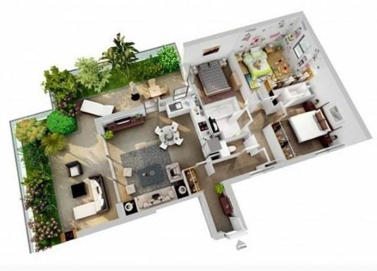 Denah Rumah Minimalis Elegan 1 Lantai
