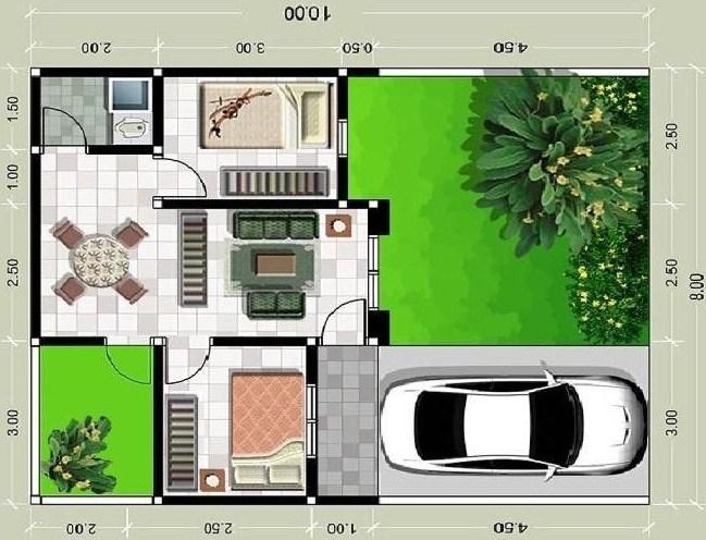 Denah Rumah Minimalis Type 36 1 Lantai