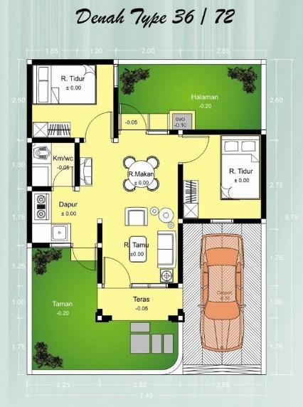 Denah Rumah Minimalis Type 36 70