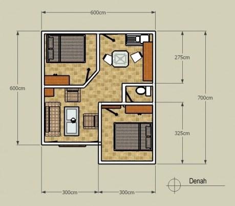 Denah Rumah Minimalis Type 36 Plus