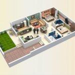 Denah Rumah Modern Minimalis 1 Lantai Type 36