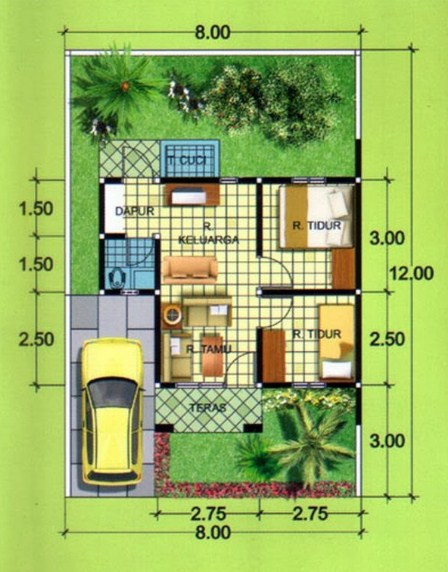 Denah Rumah Type 36 Minimalis Modern