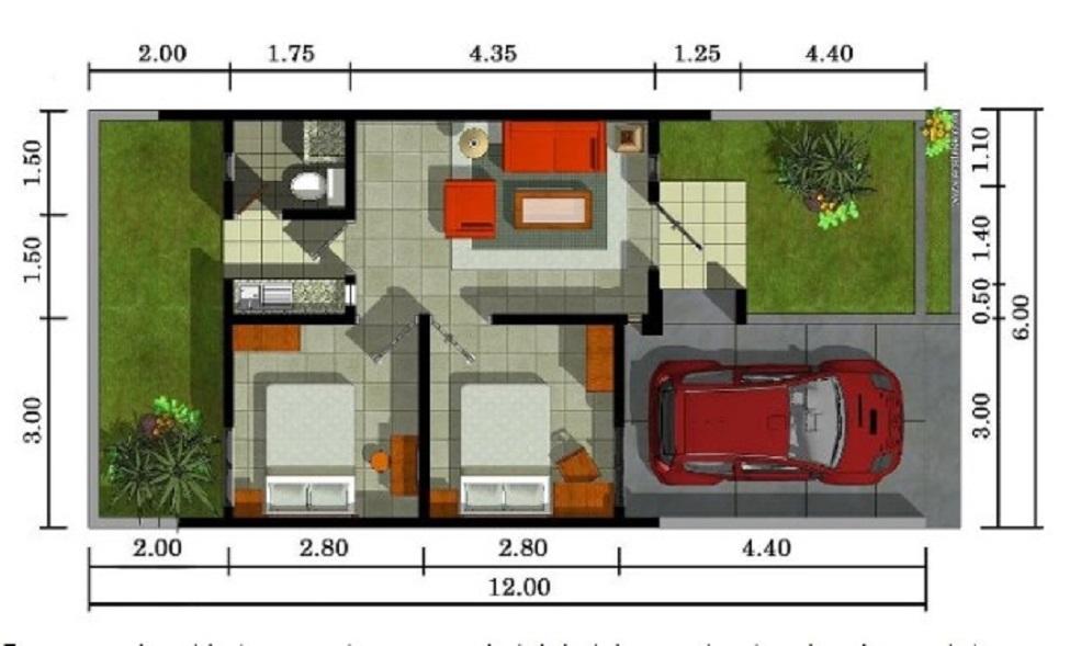 Denah Rumah Type 36 Modern dengan Pola Grid