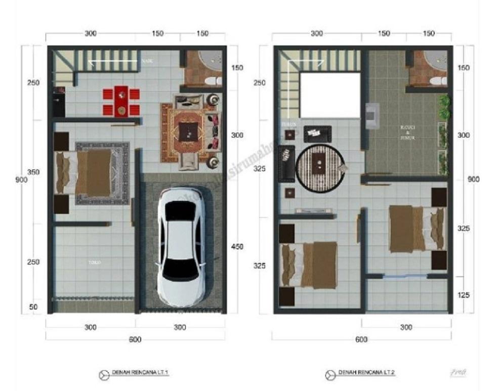 Denah Rumah Type 36 Mungil 2 Lantai