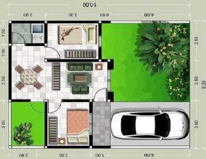 denah rumah type 36 yang sederhana dengan 1 kamar bisa