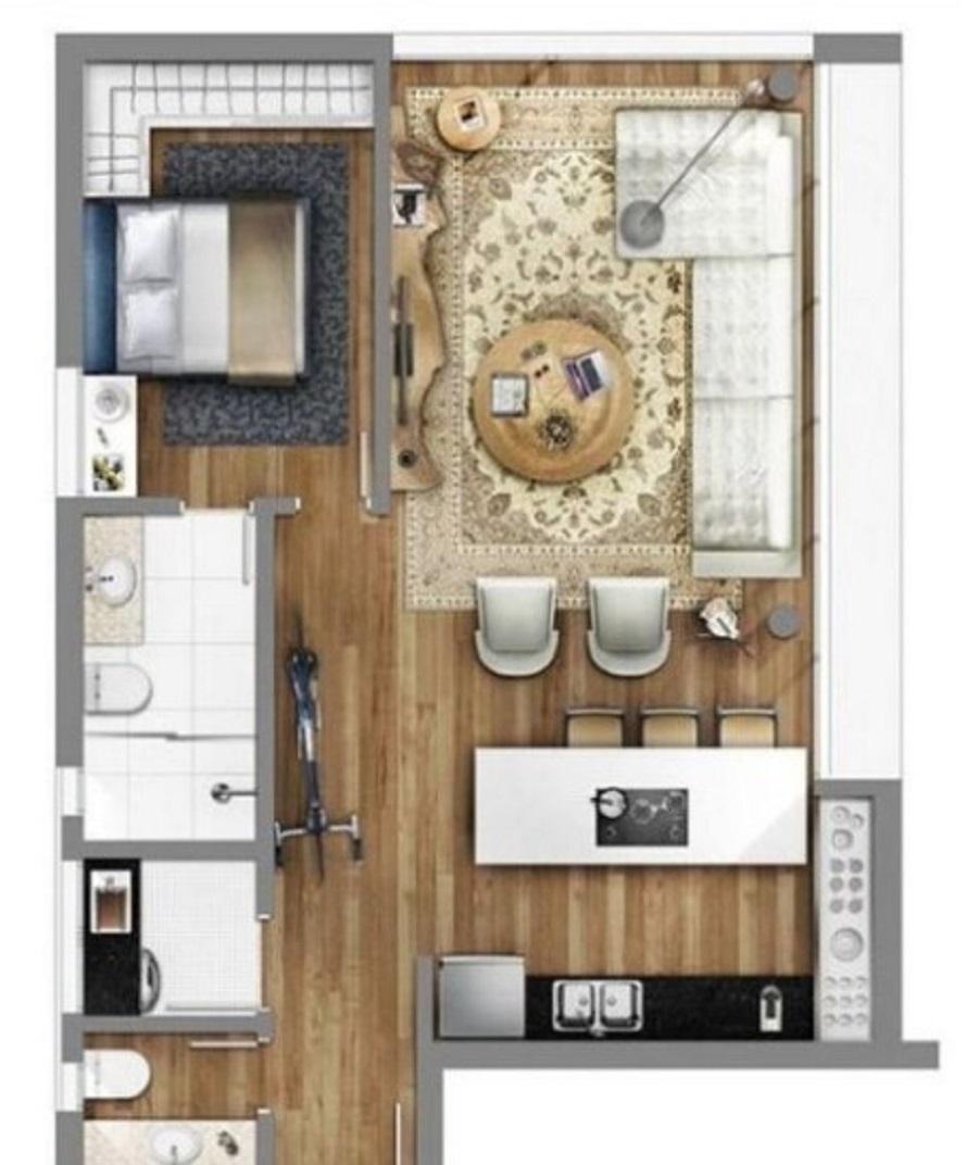 Denah Rumah Type 36 dengan 2 Kamar Mandi