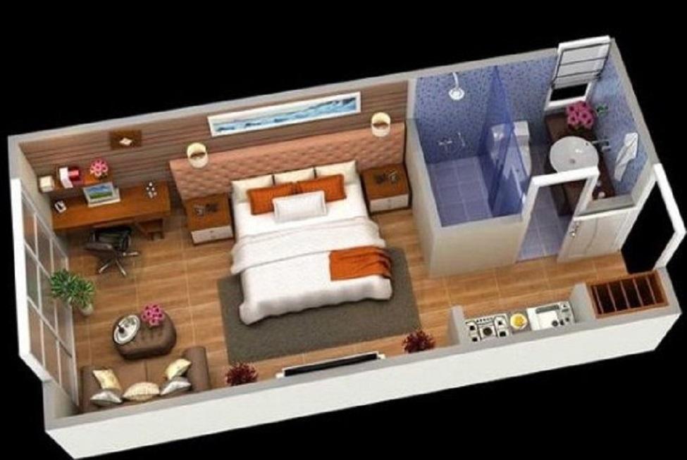 Denah Rumah Type 36 dengan Konsep Apartemen