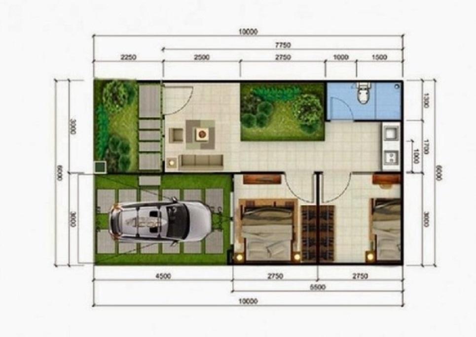Denah Rumah Type 36 dengan Konsep Taman