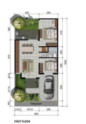 Desain Denah Rumah Minimalis Modern 1 Lantai 3 Kamar Tidur