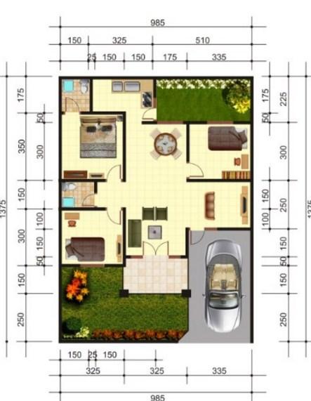 Gambar Denah Rumah Minimalis Sederhana Type 36