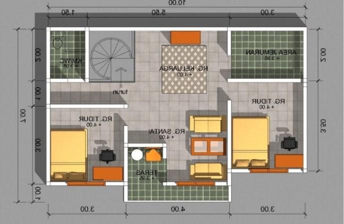 Contoh Denah Rumah Minimalis Type 54  a 21 denah rumah minimalis 2 kamar 1 2 lantai 2020