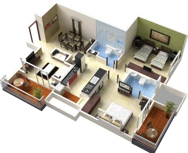 Contoh Denah Rumah 3d Minimalis Terbaru