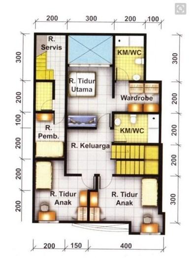 Contoh Denah Rumah Minimalis 3 Kamar