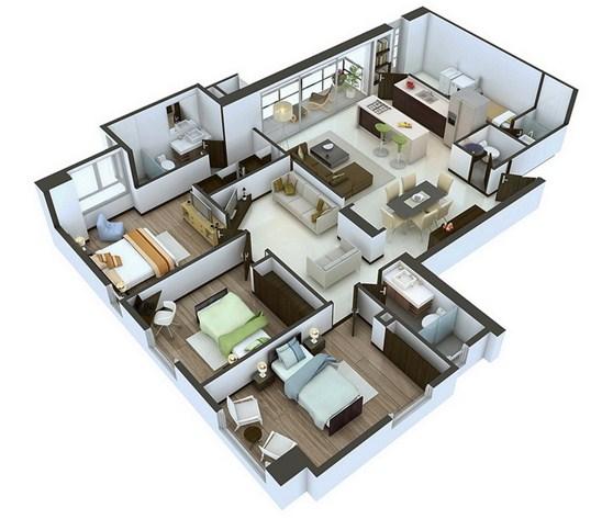 Contoh Denah Rumah Minimalis Modern