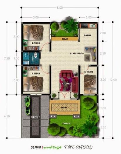 Contoh Denah Rumah Minimalis Sederhana