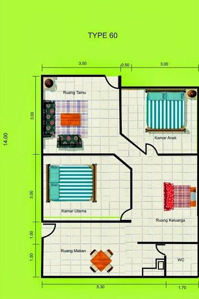 Contoh Denah Rumah Minimalis Type 60