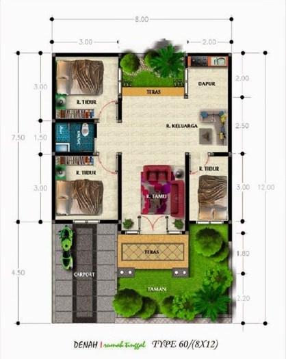 Contoh Denah Rumah Type 60
