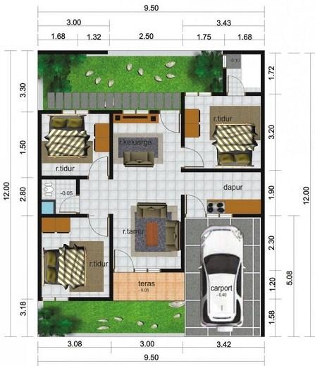 Contoh Gambar Denah Rumah Minimalis