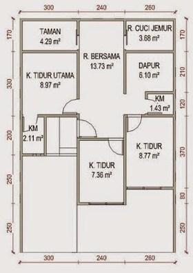 Contoh Gambar Denah Rumah Type 60