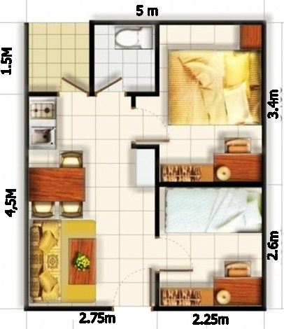 Denah Rumah 2 Kamar Tidur Minimalis