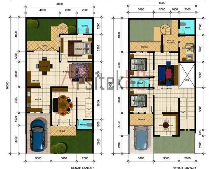 Denah Rumah 2 Lantai Lengkap