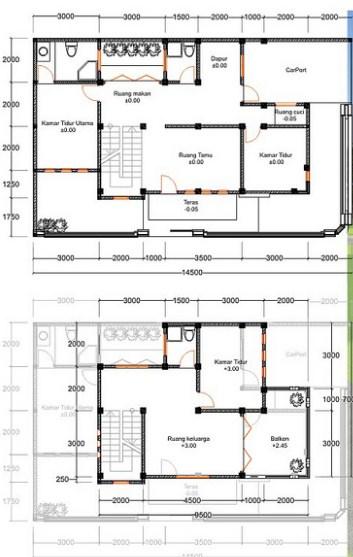 Denah Rumah 2 Lantai Mewah