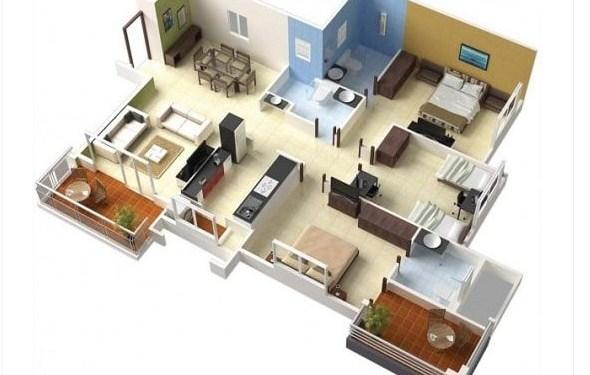 Denah Rumah 3d Minimalis Type 45