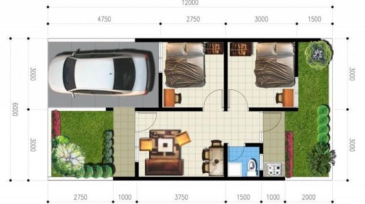 Denah Rumah Minimalis 2 Kamar Tidur Type 36