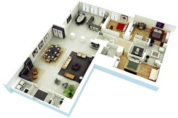 Denah Rumah Minimalis 2 Lantai 3d