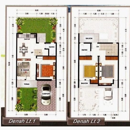 17 Koleksi Denah Rumah Minimalis 2 Lantai Terbaik 2019