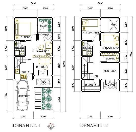 Desain Rumah Minimalis Ukuran 7x14  a 45 desain denah rumah 2 lantai minimalis sederhana