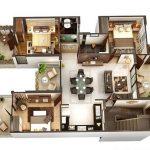 Denah Rumah Minimalis 3 Kamar 2 Lantai