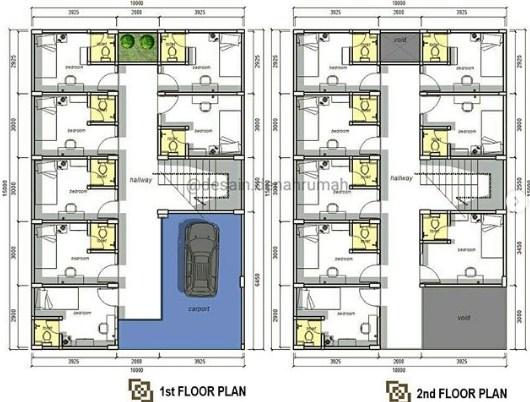 Denah Rumah Minimalis 3 Kamar Lantai 2