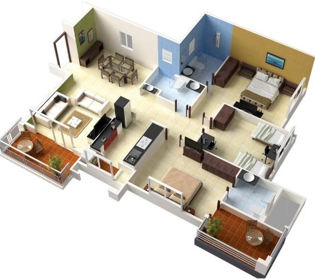 Denah Rumah Minimalis 3 Kamar Tidur 3 Dimensi