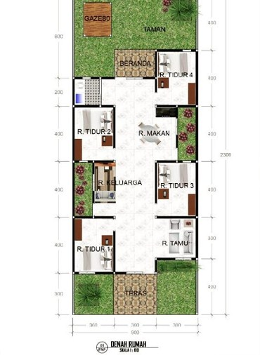 Denah Rumah Minimalis 3 Kamar Tidur Type 36