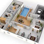 Denah Rumah Minimalis 3d 2 Kamar Tidur