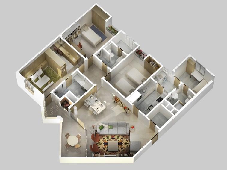 Denah Rumah Minimalis 3d 2 Lantai