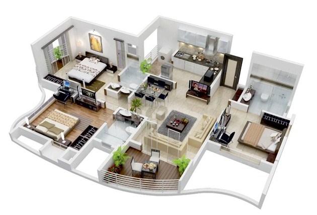 Denah Rumah Minimalis 3d 3 Kamar Tidur