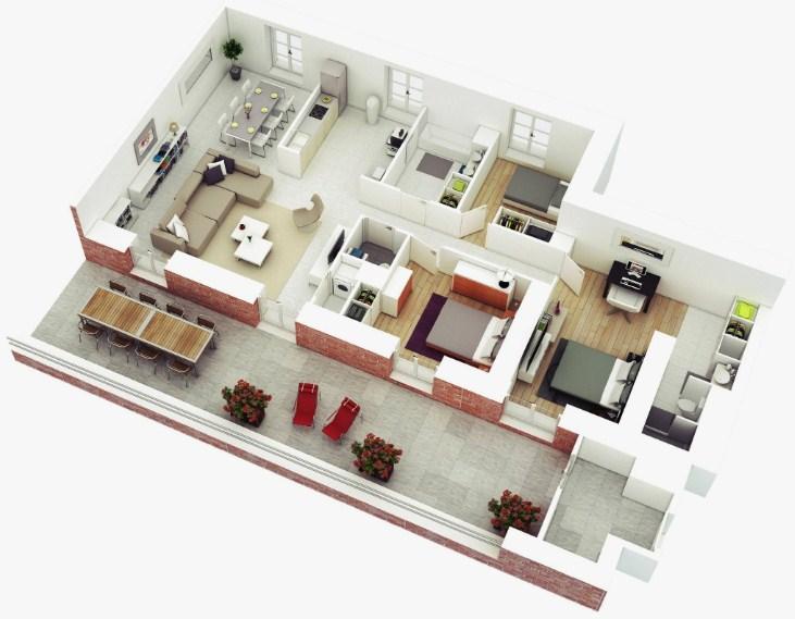20 Gambar Denah Rumah Minimalis 3D Terlengkap 2019