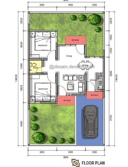 Denah Rumah Minimalis Modern Lantai 1