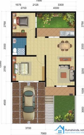 Denah Rumah Minimalis Type 45 1 Lantai