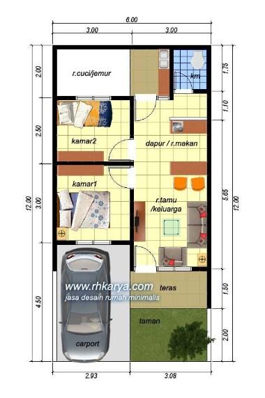 Denah Rumah Minimalis Type 45 60