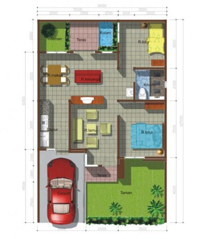 Denah Rumah Minimalis Type 45 Lengkap