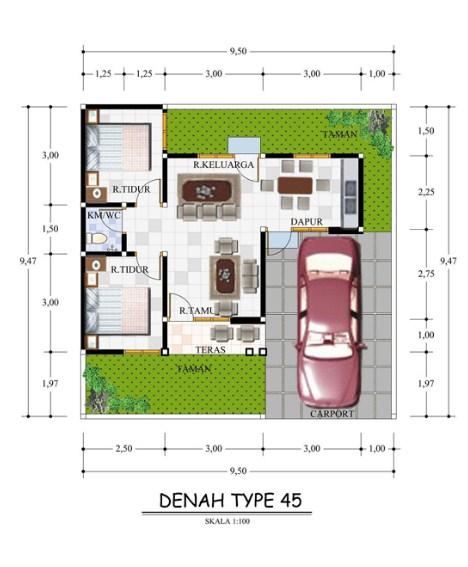 Denah Rumah Minimalis Type 45 Terbaru 2019