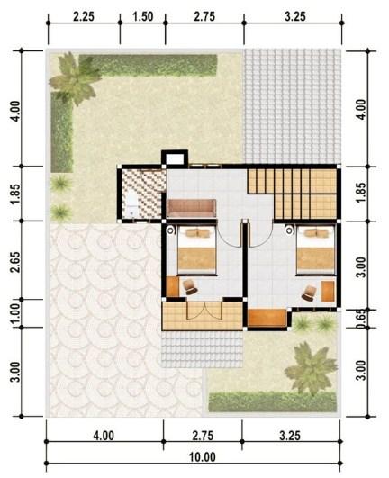 Denah Rumah Modern Minimalis 1 Lantai Type 45