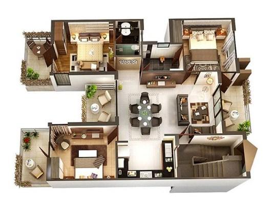 Denah Rumah Modern Minimalis Lantai 2