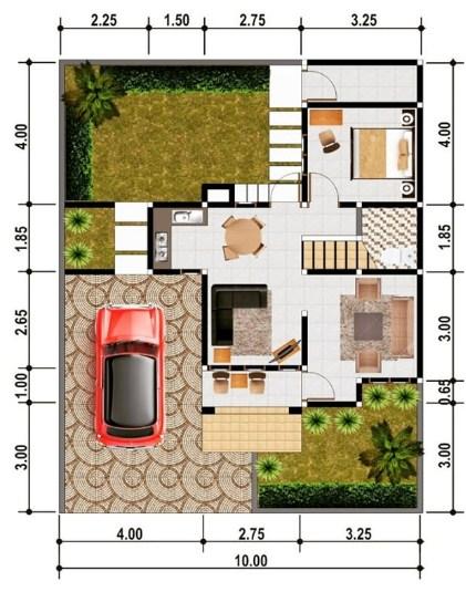 Denah Rumah Modern Minimalis Type 36